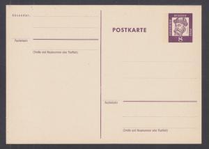 Germany, Mi P73 mint. 1962 8pf violet postal card, fresh, scarce