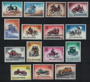San Marino Veteran Motor Cars 15v COMPLETE SG#644-658 MI#704-718