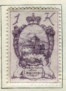 LIECHTENSTEIN; 1920 early ' Arms ' issue Perf fine Mint hinged 1K. value