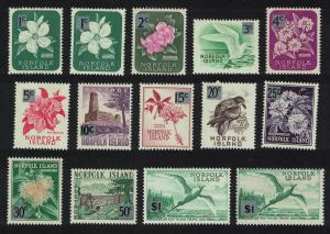 Norfolk Birds Flowers Decimal Currency Overprints 14v SG#60-71a