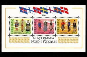 Faroe Islands – Mint Souvenir Sheet Scott #101  (Costumes)