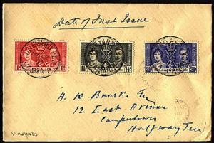 JAMAICA 1937 Coronation FDC VINEYARD cds.............95725A