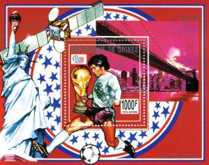 Guinea 1993 FOOTBALL WORLD CUP USA Silver Ovpt. SPACE s/s Perforated Mint (NH)