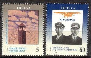 Lithuania 1993 Unit Day Ciurlionis Flight across Atlantic Ocean set of 2 MNH