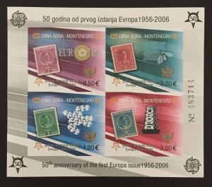 Montenegro 2006, #129e S/S-Imperforate, Europa 50th Anniversary, MNH.