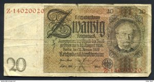 1929 Germany Banknote 20m Reichsmark (F-VF) Banknote Reichsbanknote With Faults