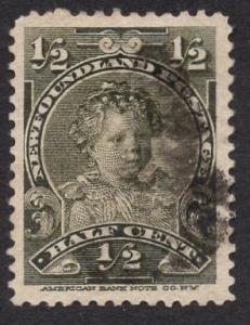 Newfoundland  #78  used   1897  Edward VIII as a child  1/2c