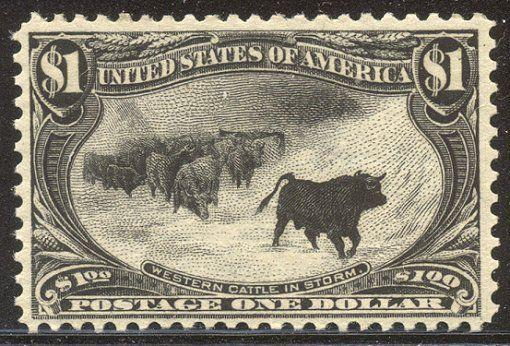 U.S. #292 Mint NH BEAUTY w/Cert - 1898 $1.00 Trans-Mississippi