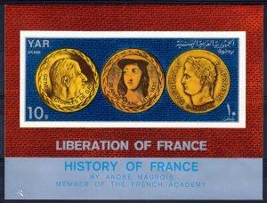 Yemen 1969 Mi#Bl.116 NAPOLEON-DE GAULLE-JEANNE D'ARC Souvenir Sheet IMPERF.MNH