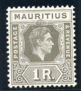 Mauritius 1949 KGVI 1r drab (CH) MLH. SG 260c.