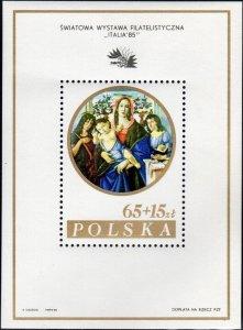 Poland 1985 MNH Stamps Souvenir Sheet Scott B143 Exhibition Italy Madonna Art