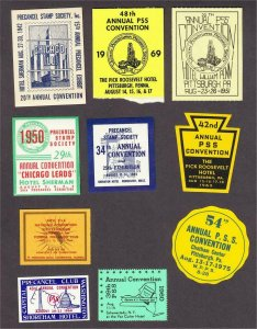 Precancel Stamp Society PSS 1942-1975 Convention Exhibition Lot 10 Poster Stamps