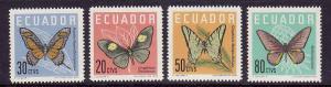 Ecuador-Sc#680-3-Unused NH set-Butterflies-1961-