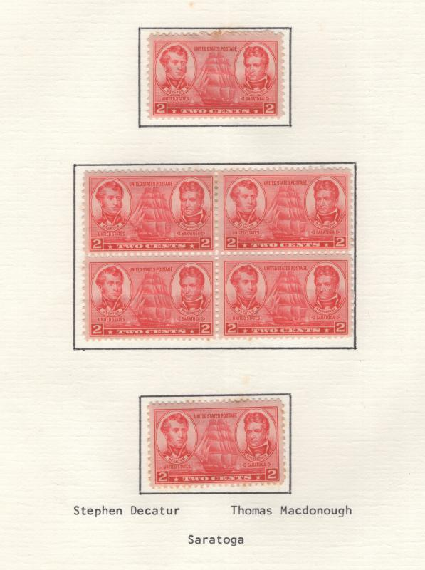 US 1937 Navy  2c Stamp Block of 4 & 2 Single Stamps Scott 791 MH