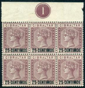 GIBRALTAR-1889 25c on 2d Brown Purple 5 WITH SHORT FOOT UMM Sg 17-17a
