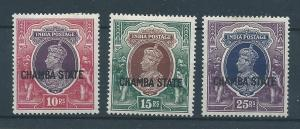India Chamba 85-87 KGVI part set MH