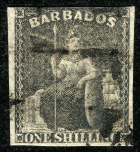 BARBADOS QV Classic Stamp SG.12a 1s Black BRITANNIA (1858) Used Cat £75 YBLUE153
