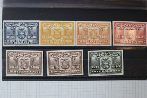 Panama Revenue timbre National 1930-1944 imperf proof set Quayle & son NY DL