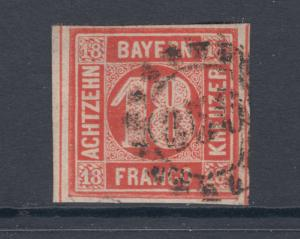 Bavaria Sc 14 used 1862 18kr vermilion red Numeral, 4 margins F-VF