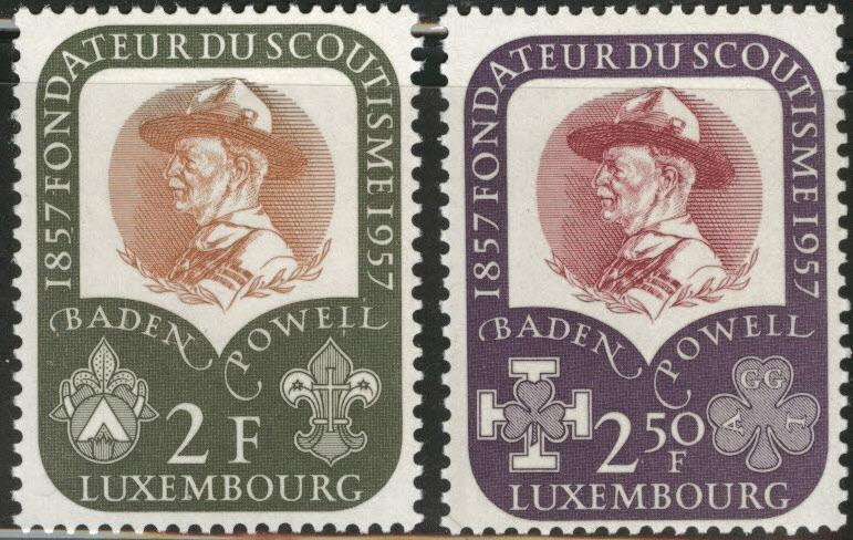 Luxembourg Scott 324-325 MH* 1957 Scout set CV