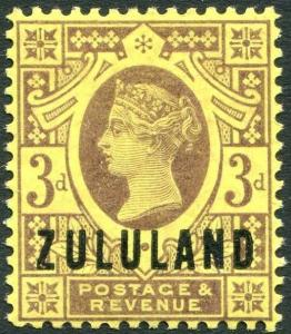 ZULULAND-1888-93 3d Purple/Yellow Sg 5 LIGHTLY MOUNTED MINT V28224
