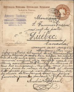 J) 1902 MEXICO, 3 CENTS BROWN, YELLOW, MEXICAN REPUBLIC, UNIVERSAL POSTAL UNION,