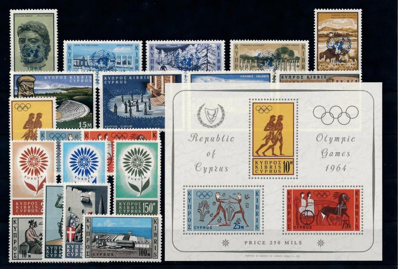 [51654] Cyprus 1964 Complete Year Set with Miniature sheet MNH