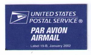 UNITED STATES POSTAL SERVICE AIR MAIL LABEL NO GUM (ISSUED JANUARY 2002) (AM26)