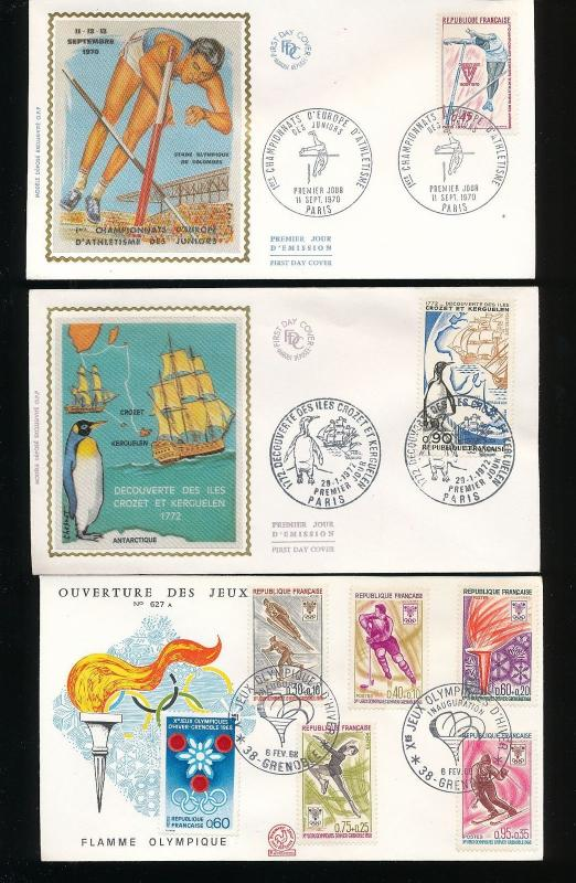 FRANCE 1970s Sport Silk Covers FDC x 20 (Au11863)