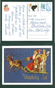 Denmark. Christmas Card. 1900/2008 Reprint. Angel,Santa.Sled,Gifts. Postal Used