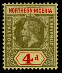 NORTHERN NIGERIA GV SG44, 4d black & red/yellow, M MINT.
