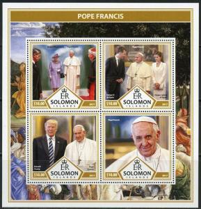 SOLOMON ISLANDS 2017 POPE FRANCIS SHEET  MINT NEVER HINGED