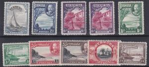 BERMUDA  1936 - 47      S G  98 - 106    SET OF 10    MH