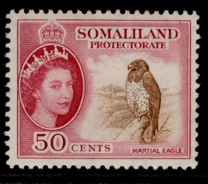SOMALILAND PROTECTORATE QEII SG143, 50c brown & rose-carmine, M MINT.