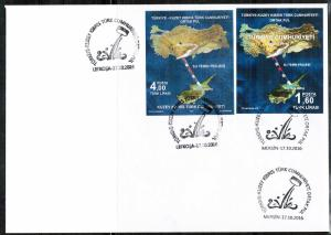 TURKISH CYPRUS 2016 - FDC WATER FROM TURKEY JOINT ON PRIVATE FDC