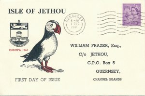 Cover UK 1961 Great Britain Guernsey Isle of Jethou Channel Islands FDC Europa