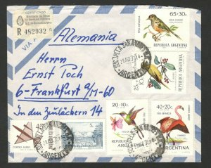 ARGENTINA TO GERMANY -AIRMAIL R LETTER-MULTI FRANKED-BIRDS-FAUNA-PLANE-1972.