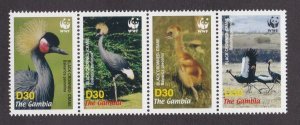 Gambia MNH Strip 3014 Black Crowned Cranes WWF 2006