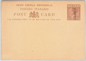 TOBAGO -  POSTAL STATIONERY CARD: Higgings & Gage # 4 - overprinted ONE PENNY