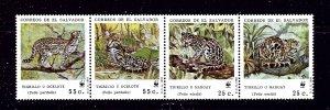 El Salvador 1194 MNH 1988 W.W.F. strip of 4