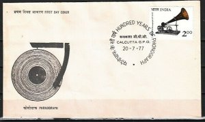 India, Scott cat. 764. Phonograph Centenary issue. First day cover. *