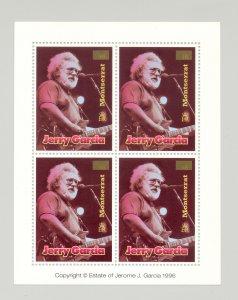 Montserrat #928 Jerry Garcia, Music Missing $1.50 Denomination 1v Error M/S of 4