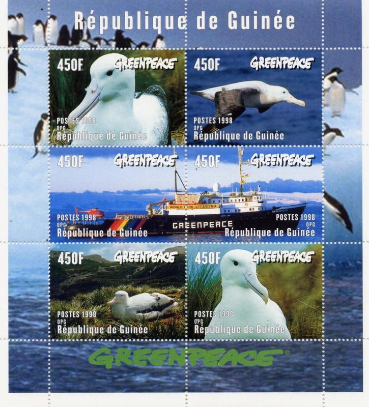 Guinea MNH S/S 1469 Greenpeace Birds & Research Ship 1998 SCV 10.00