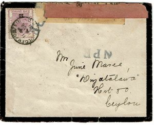 Orange Free State 1901 Bloemfontein cancel on mourning cover to POW in Ceylon