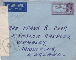 british india  1944 censor air mail madras to englsnd stamps cover ref r15373