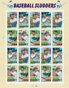 US: 2006 BASEBALL SLUGGERS; Complete Sheet Sc 4080-3; 39 Cents Values Ott Mantle