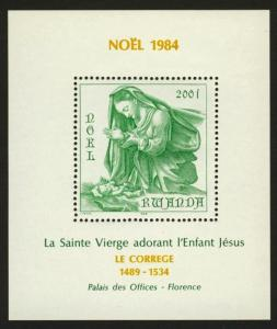 Rwanda 1207 MNH Christmas, Art, Virgin & Child, Correggio