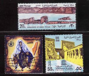 UAR EGYPT Scott 744-746 MNH** UN set, 1968