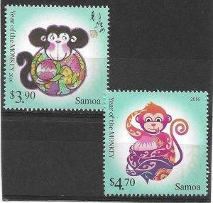2015   SAMOA  -  SG.  1349 / 1350  -  YEAR OF THE MONKEY  -  MNH
