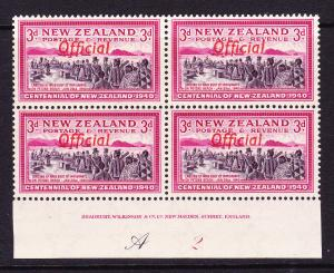 NEW ZEALAND  1940  3d  CENTENNIAL OFFICIAL  PLATE BLK 4 # A2  MNH
